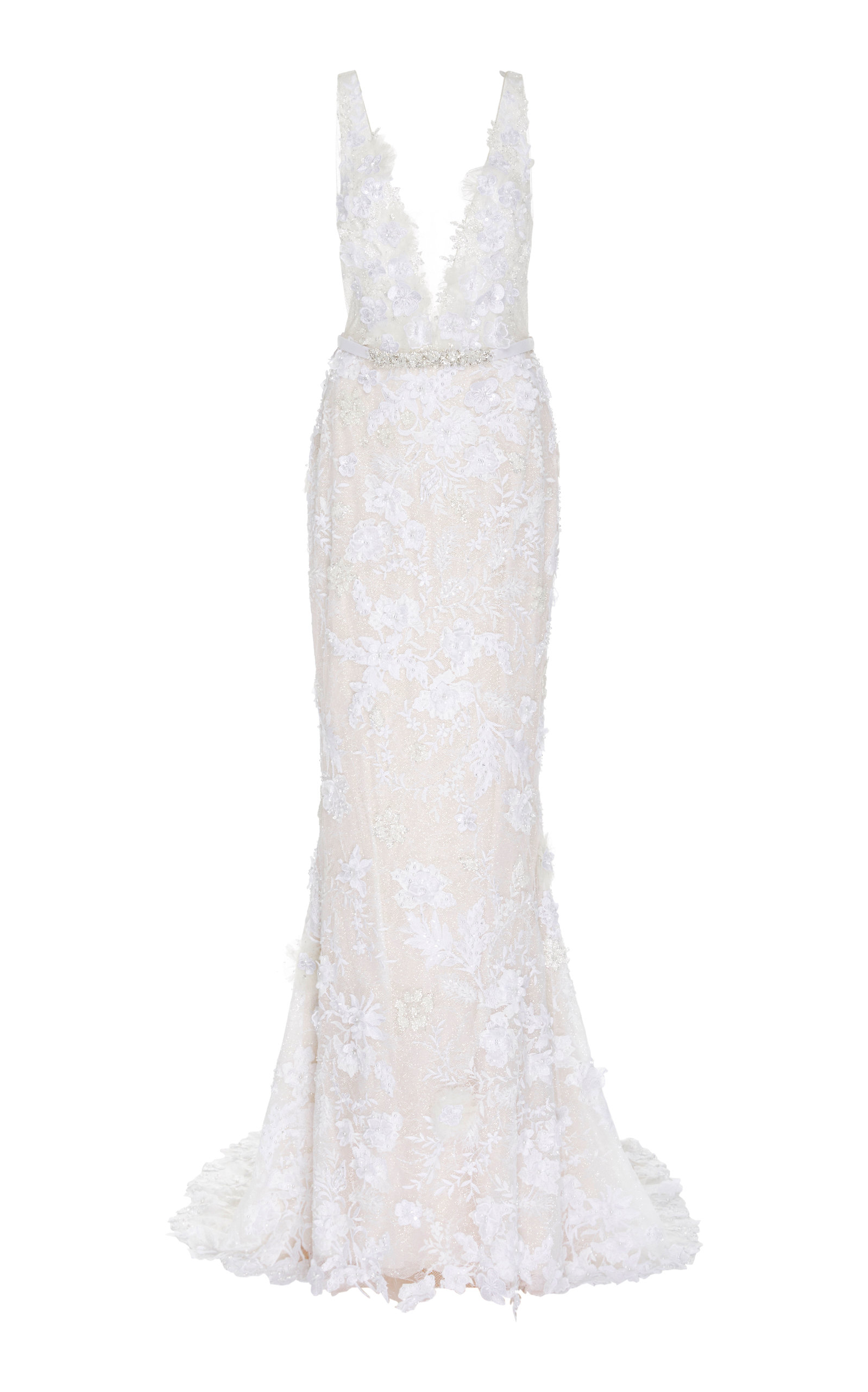 MIRA ZWILLINGER Dara Open-Back Chantilly Lace Sheath Gown in White