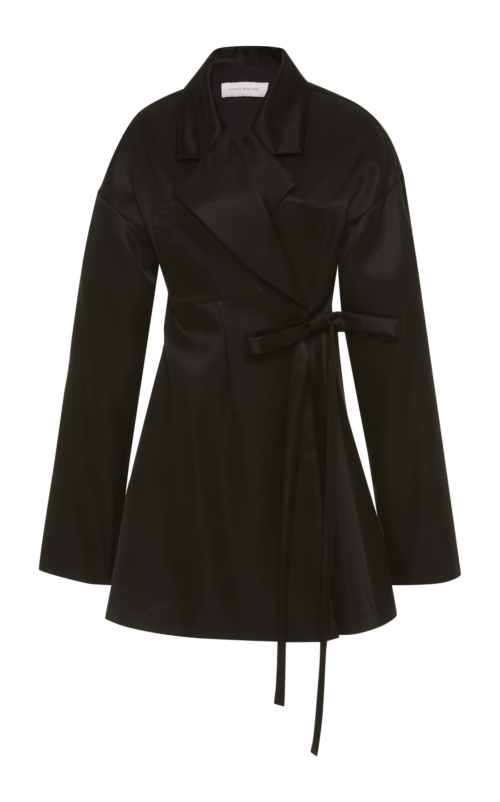 MARINA MOSCONE Waist-Tie Silk-Satin Jacket in Black