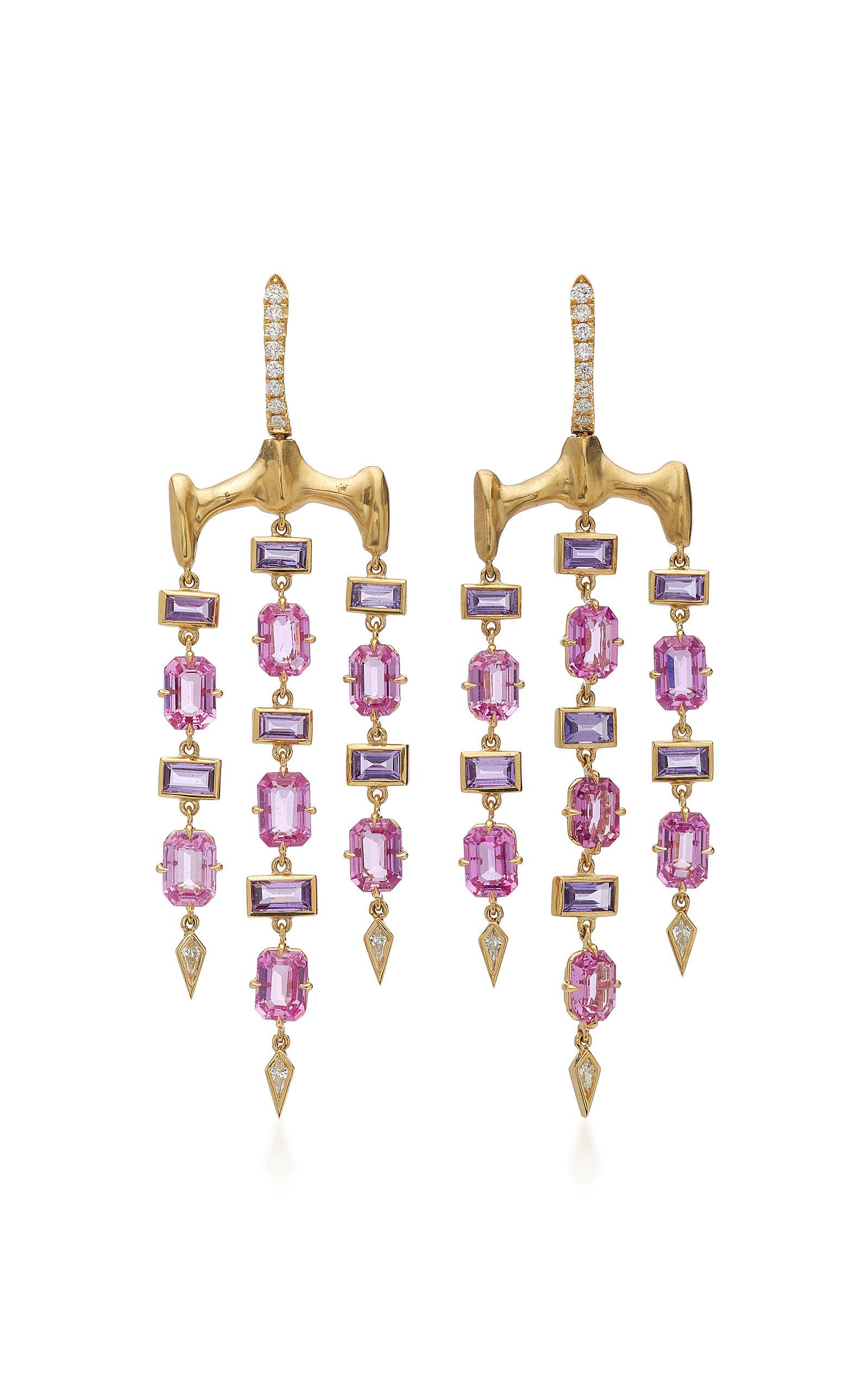 VRAM Chrona 18K Gold Sapphire And Diamond Earrings in Purple