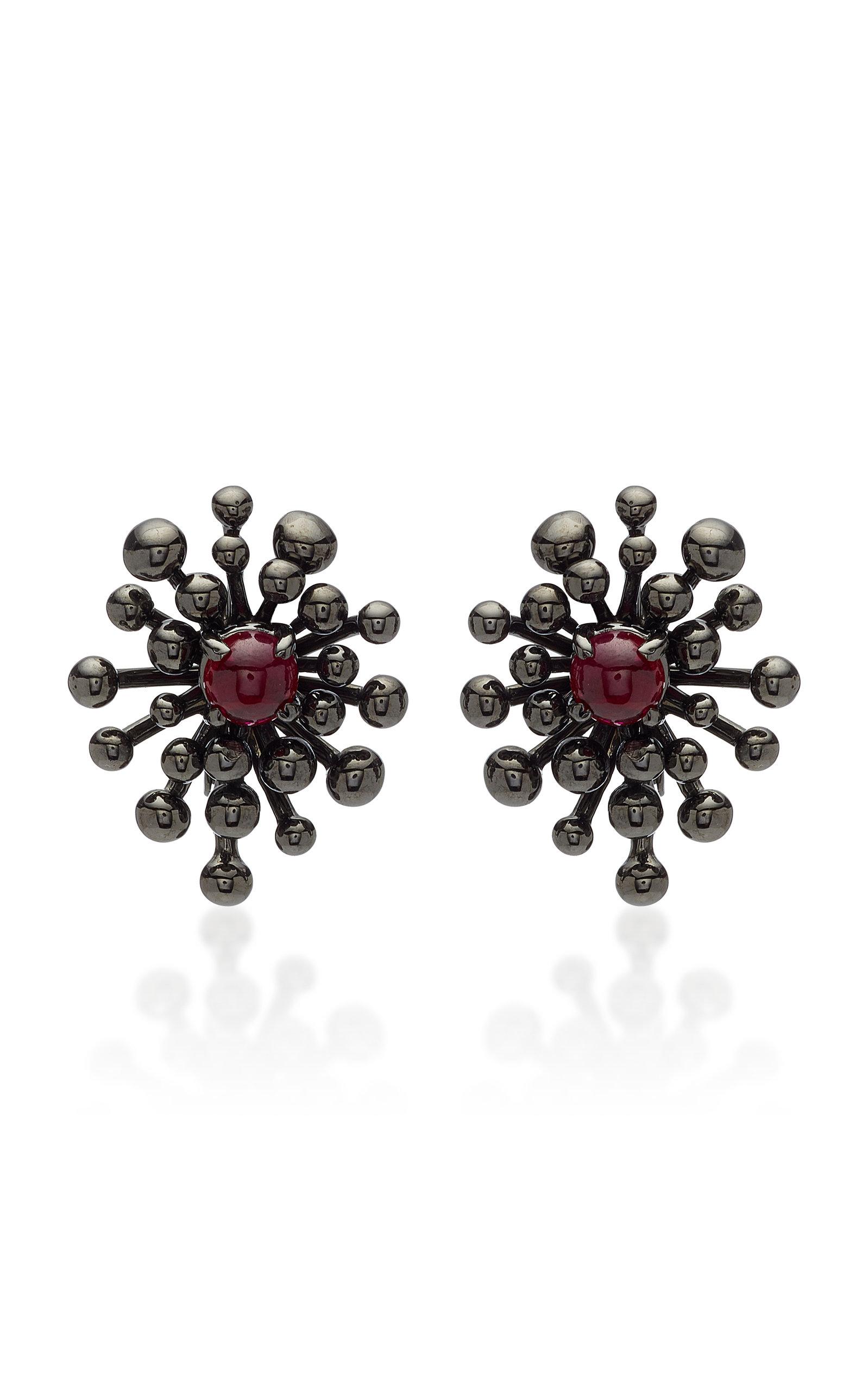 VRAM Nocturne Rhodium-Plated 18K Gold Ruby Earrings in Black