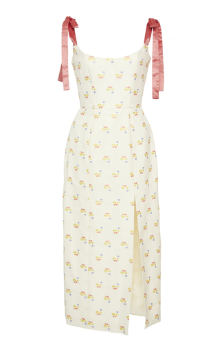 MARKARIAN | Markarian Exclusive Darcy Floral-Embroidered Cotton-Blend Midi Dress | Goxip