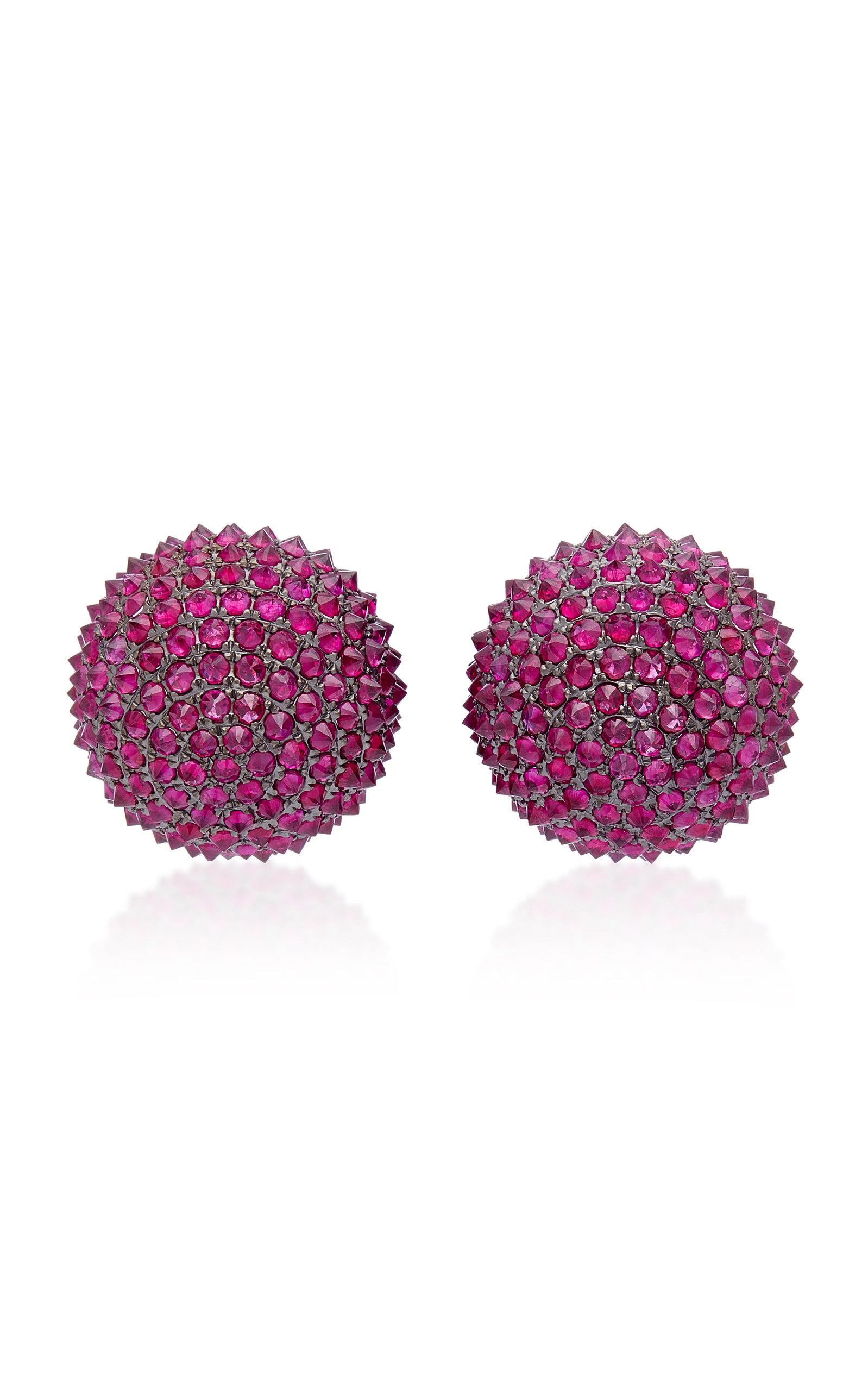 Uni 18k Gold And Ruby Stud Earrings