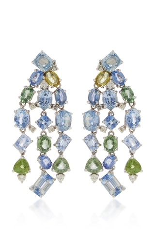 GIOIA | Gioia 18K White Gold And Sapphire Chandelier Earrings | Goxip