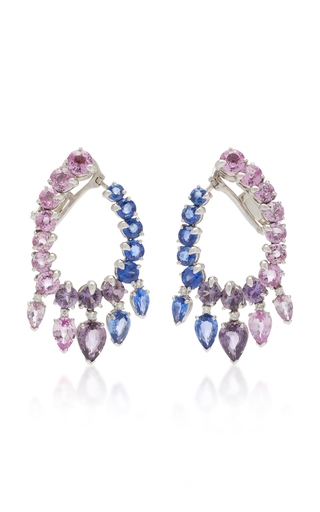 GIOIA | Gioia 18K White Gold And Sapphire Creole Hoop Earrings | Goxip