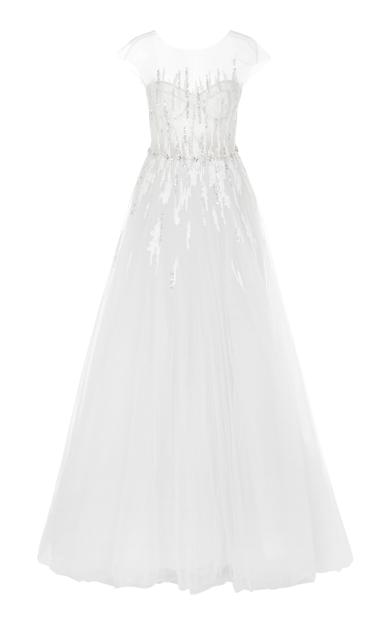 MIRA ZWILLINGER Navara Sequined Silk And Cotton-Blend Tulle Gown in White