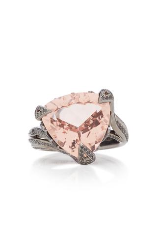 AKILLIS | Akillis Rhodium-Plated 18K Gold Morganite And Diamond Ring | Goxip
