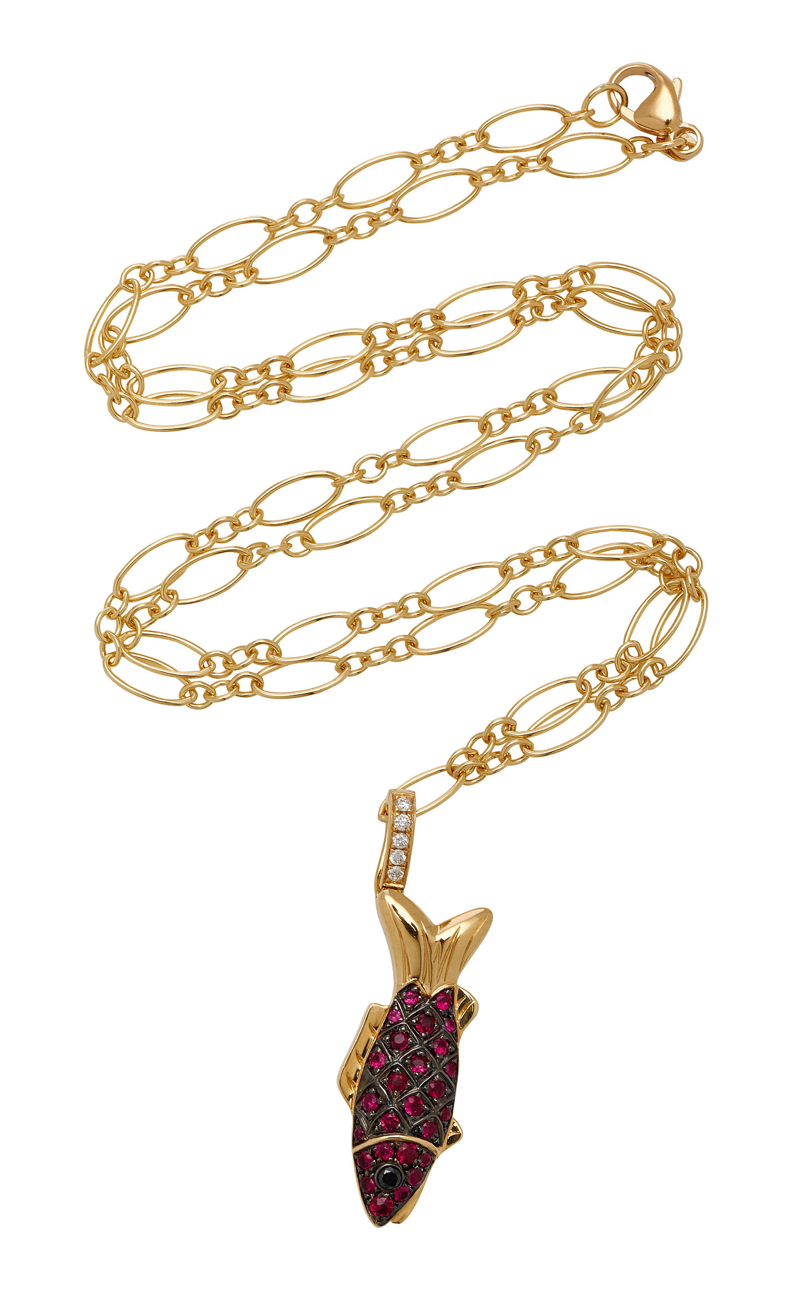 KHAI KHAI 18K Gold Diamonds And Rubies Charm in Red
