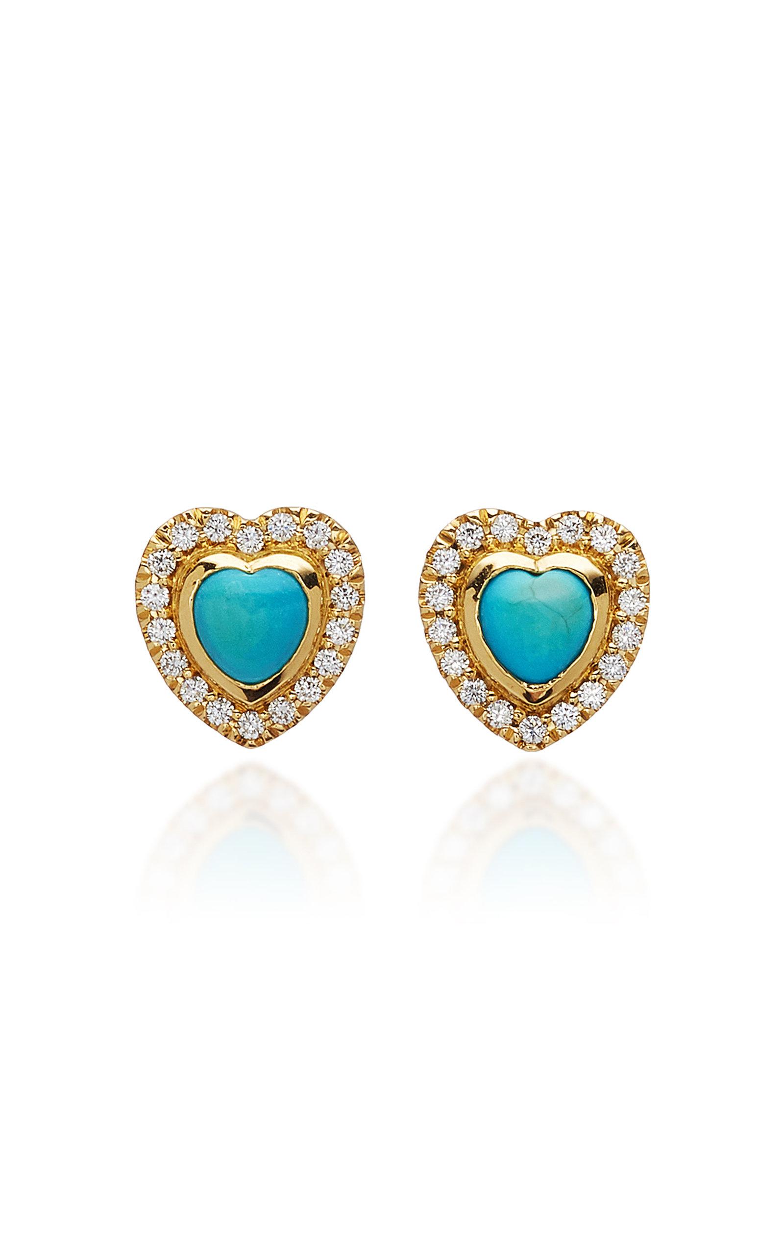 KHAI KHAI 18K Gold Turquoise And Diamond Earrings in Blue