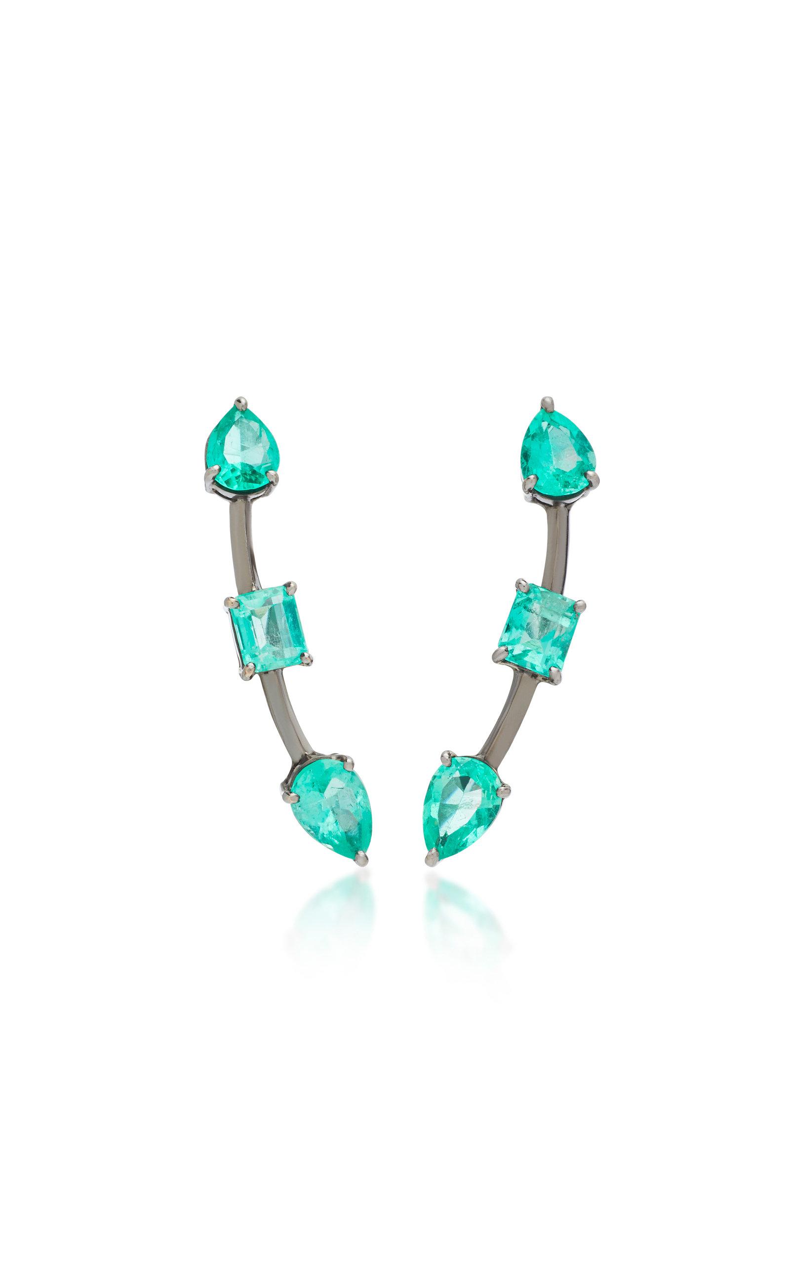 JACK VARTANIAN Rhodium-Plated 18K White Gold Emerald Earrings in Green