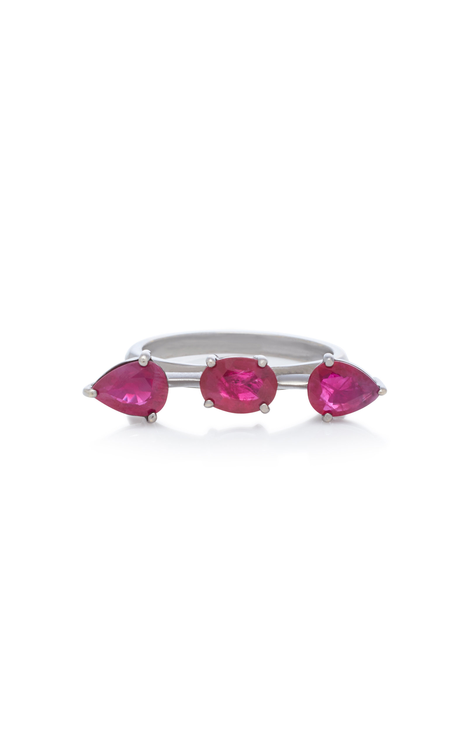 JACK VARTANIAN Rhodium-Plated 18K White Gold Ruby Ring in Red