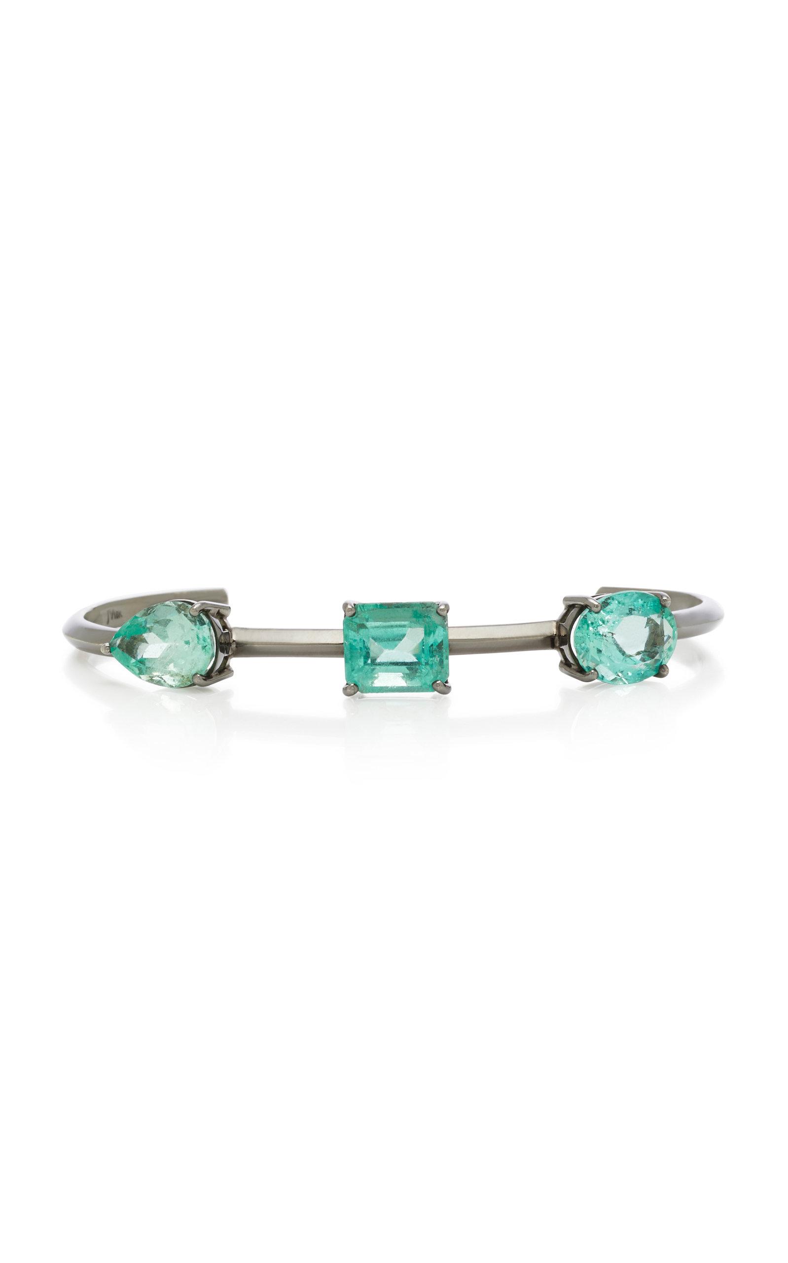 JACK VARTANIAN Rhodium-Plated 18K White Gold Emerald Bracelet in Green