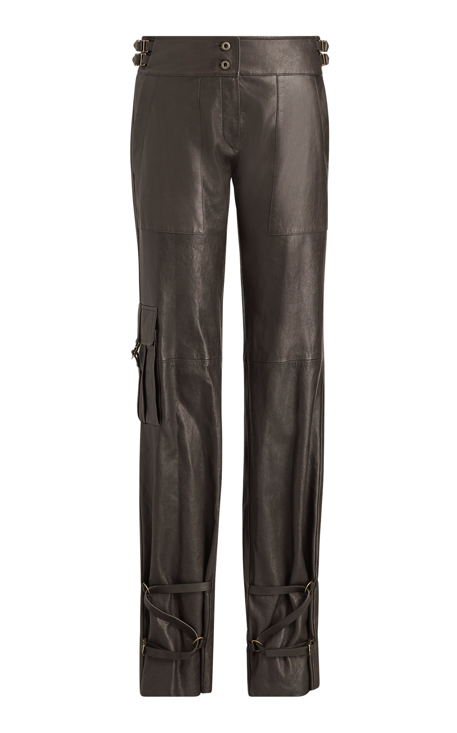 a few days away clearance great deals on fashion Kaiya Straight Leg Leather Pant in Brown