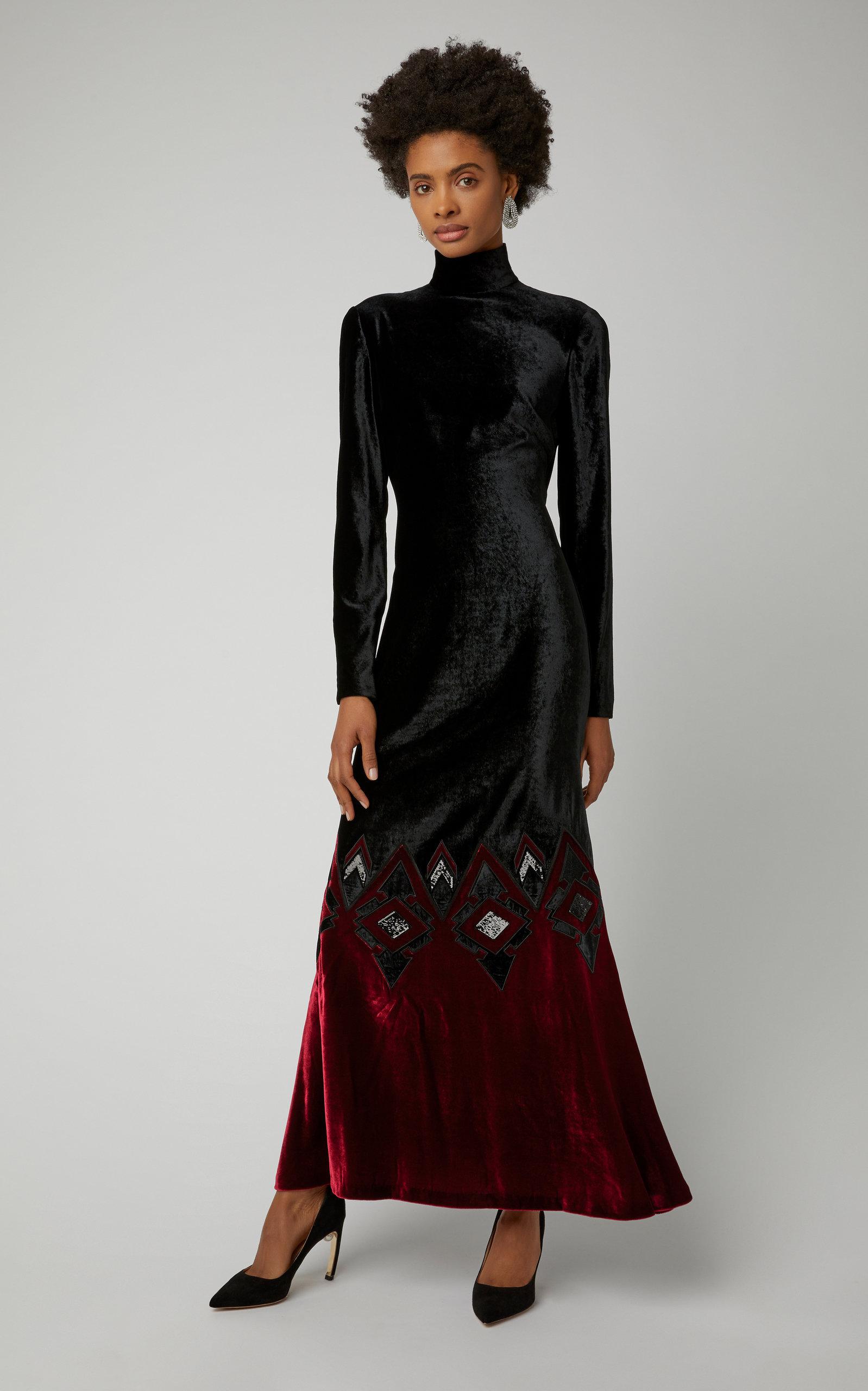 Reiley Long Sleeve Ombre Velvet Evening Dress By Ralph Moda Operandi