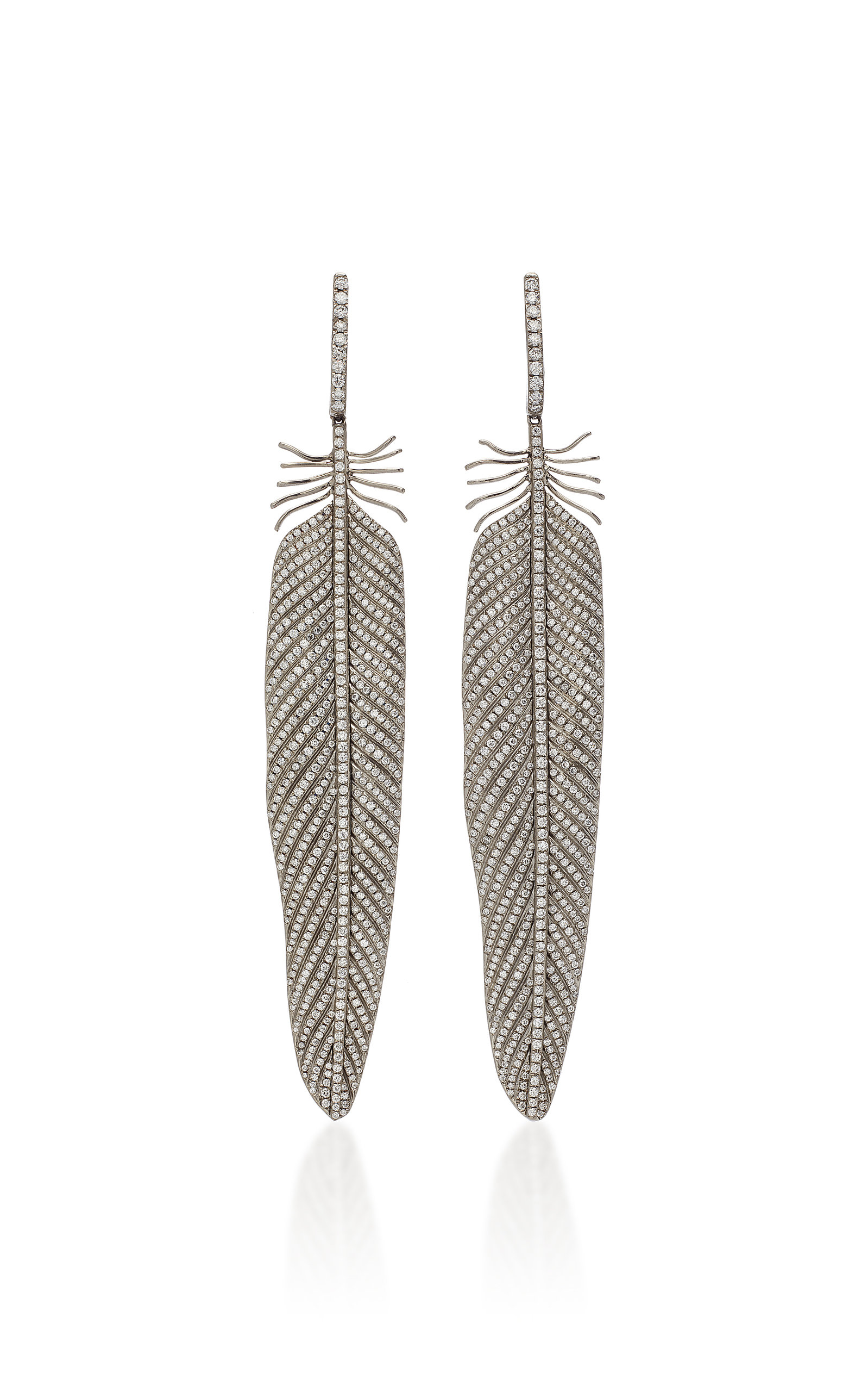 SIDNEY GARBER Plumage Titanium And Diamond Earrings in Grey