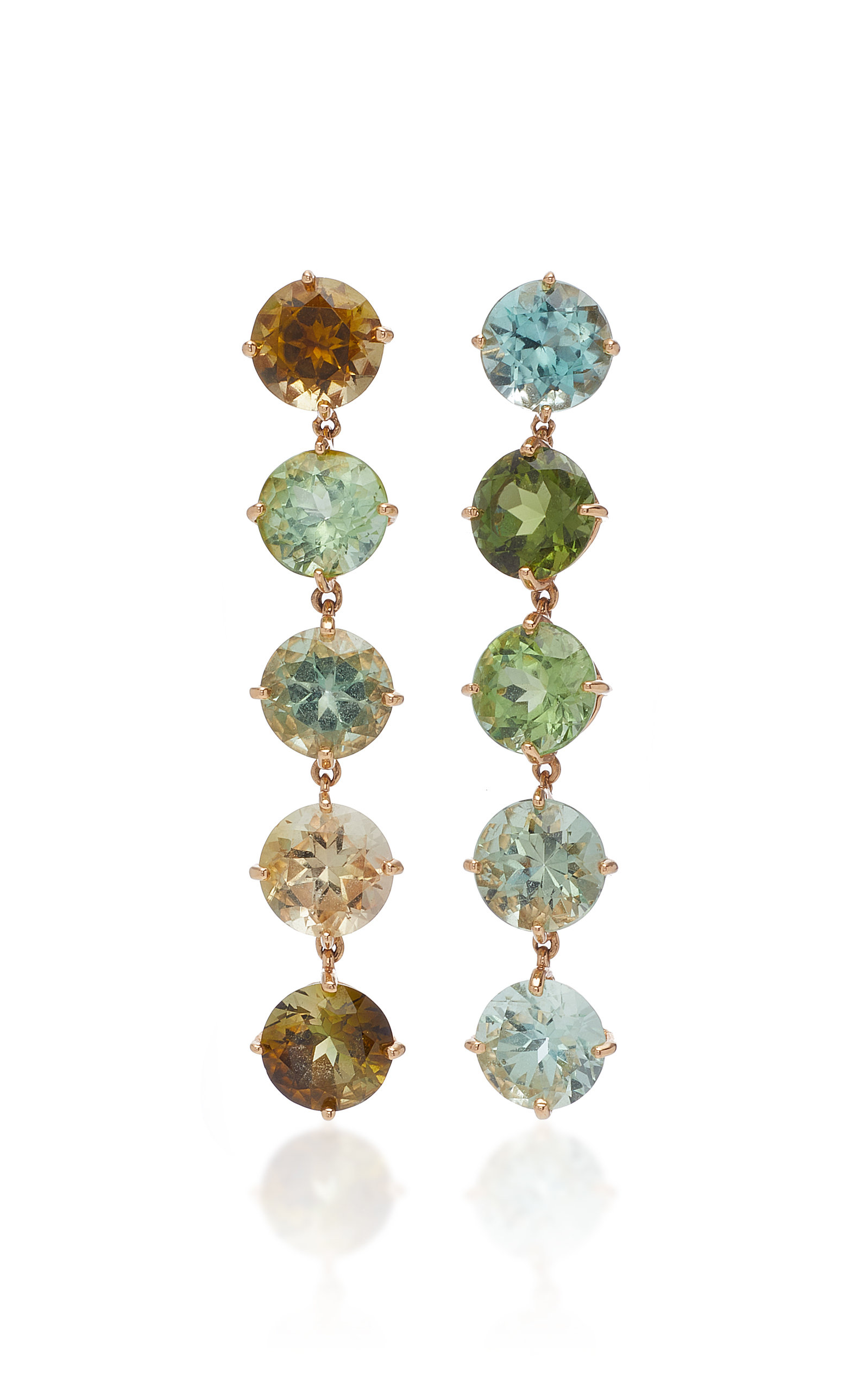 SIDNEY GARBER Green Light 18K Rose Gold And Tourmaline Drop Earrings in Multi