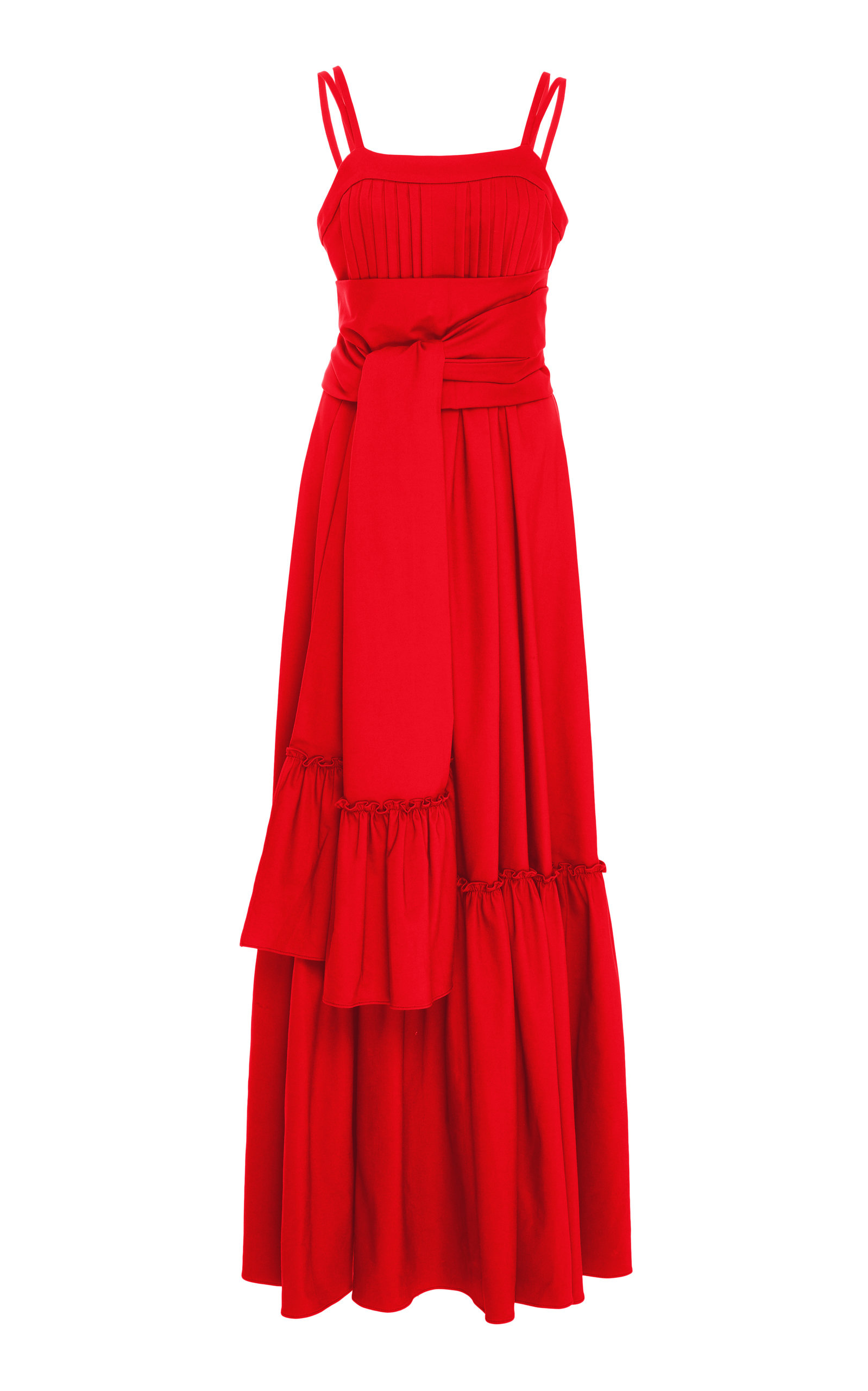 Ophira Tiered Sleeveless Maxi Dress With Sash in Red