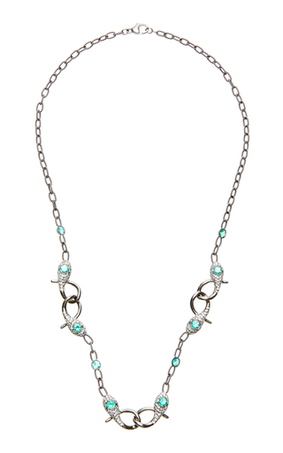 COLETTE JEWELRY | Colette Jewelry Coiled Snake 18K Black Gold And Diamond Chain Necklace | Goxip