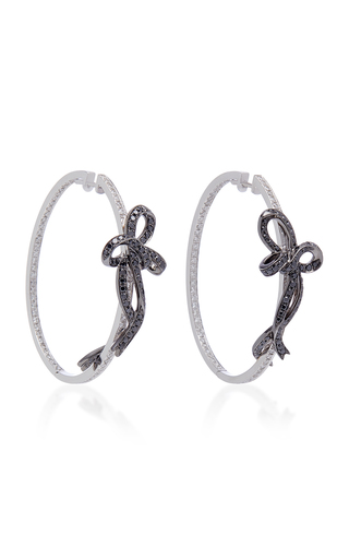 COLETTE JEWELRY   Colette Jewelry Two-Tone Bow 18K White Gold Hoop Earrings   Goxip