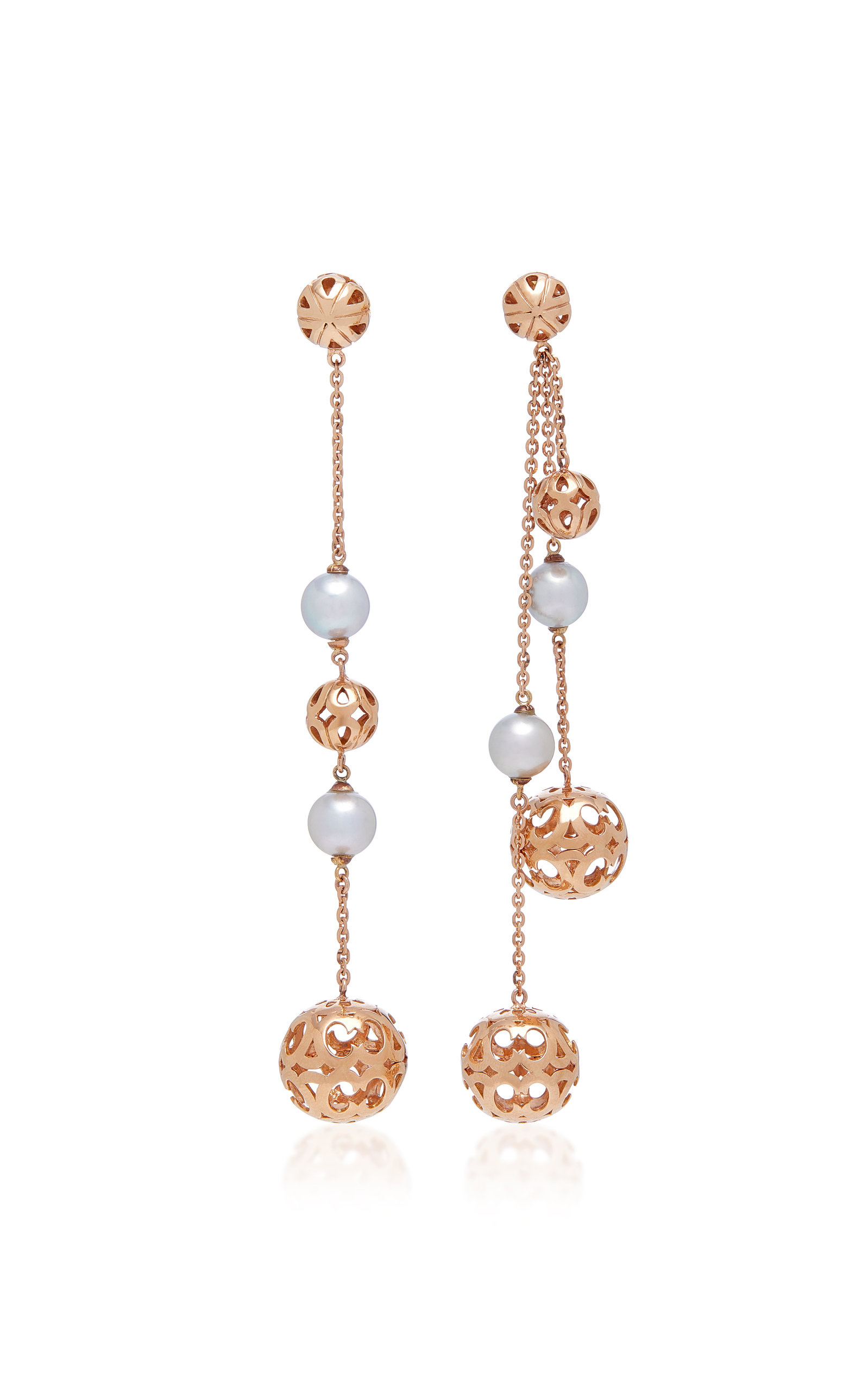 COLETTE JEWELRY Motif Mismatched 18K Rose Gold And Japanese Pearl Drop Earrings in Pink