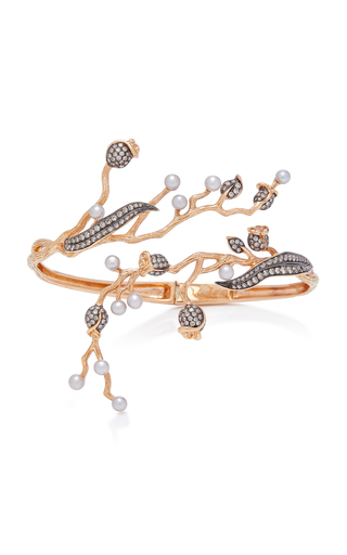 COLETTE JEWELRY   Colette Jewelry Set-Of-Two 18K Rose Gold Pearl And Diamond Cuff   Goxip