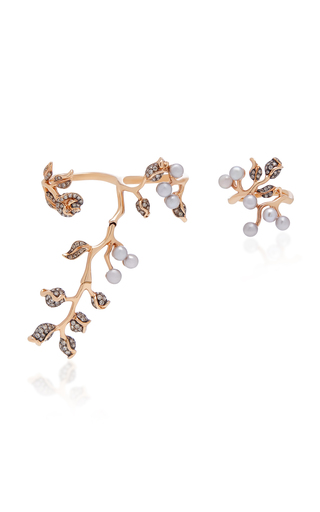 COLETTE JEWELRY | Colette Jewelry Set-Of-Two 18K Rose Gold Pearl And Diamond Rings | Goxip
