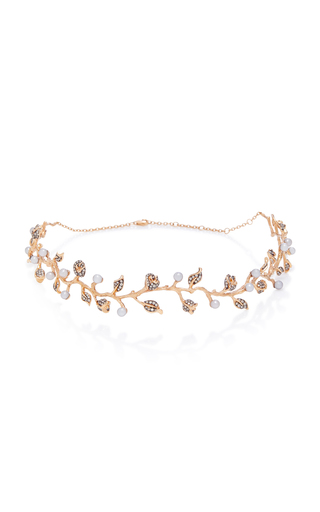 COLETTE JEWELRY   Colette Jewelry 18K Rose Gold Pearl And Diamond Choker   Goxip