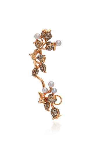COLETTE JEWELRY | Colette Jewelry 18K Rose Gold Pearl And Diamond Ear Cuff | Goxip