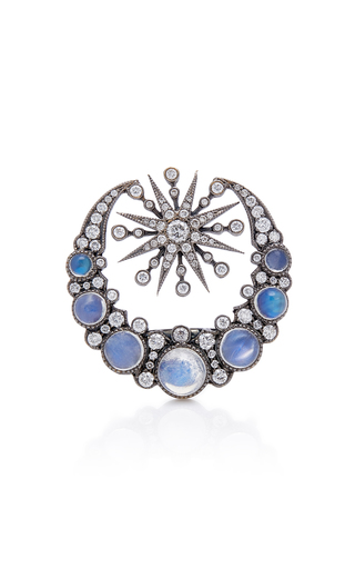 COLETTE JEWELRY   Colette Jewelry 18K Oxidized Gold Moonstone And Diamond Ring   Goxip