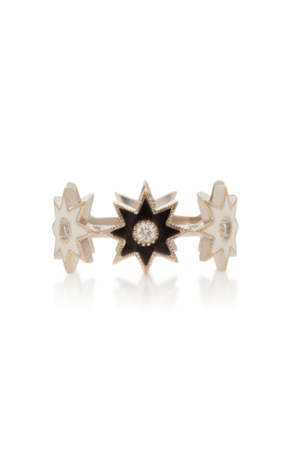 COLETTE JEWELRY | Colette Jewelry 18K White Gold Enamel And Diamond Ring | Goxip