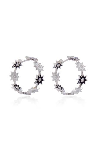 COLETTE JEWELRY | Colette Jewelry 18K White Gold Enamel And Diamond Hoop Earrings | Goxip