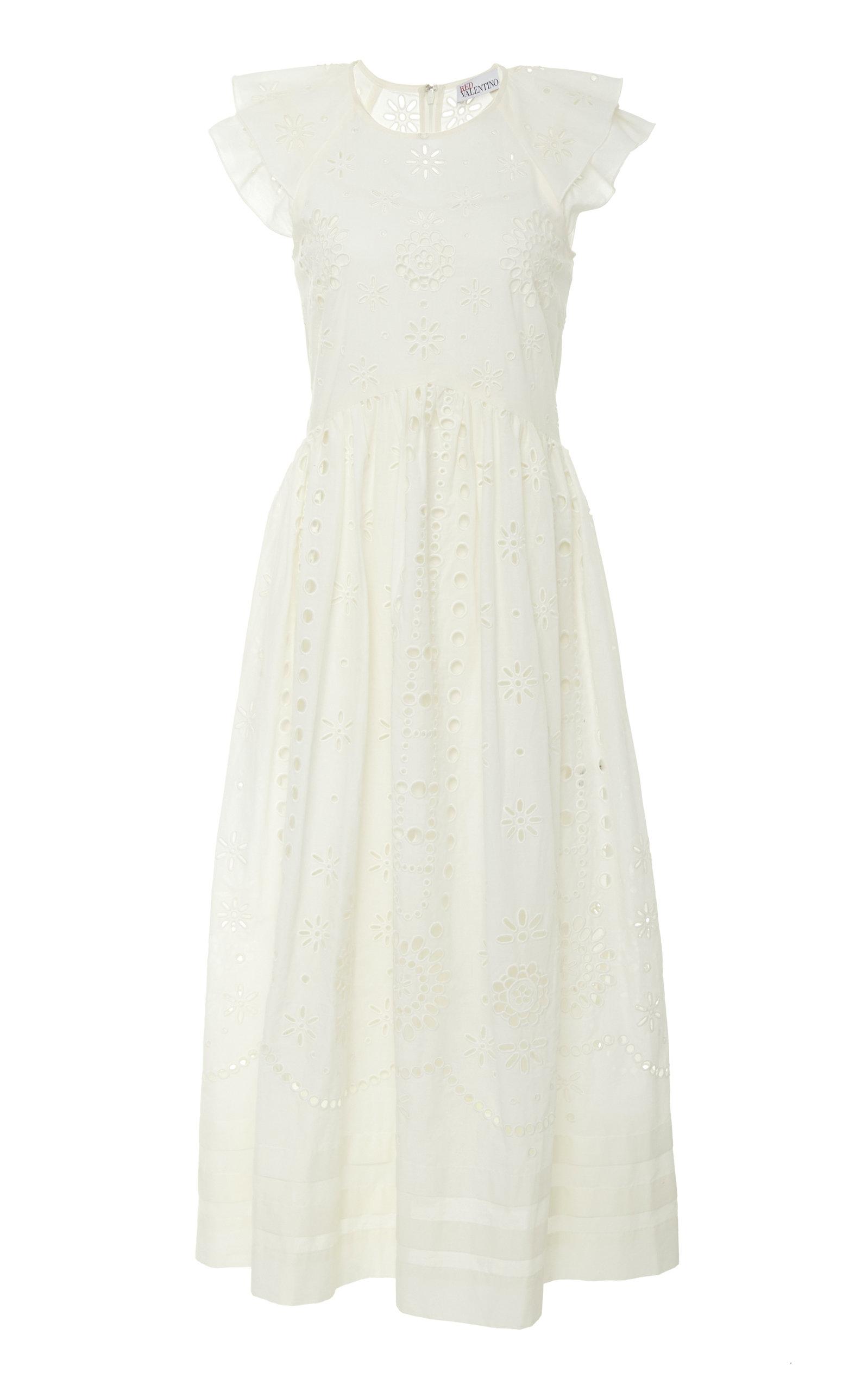 REDVALENTINO | Red Valentino Sangallo Embroidered Cotton Voile Dress | Goxip