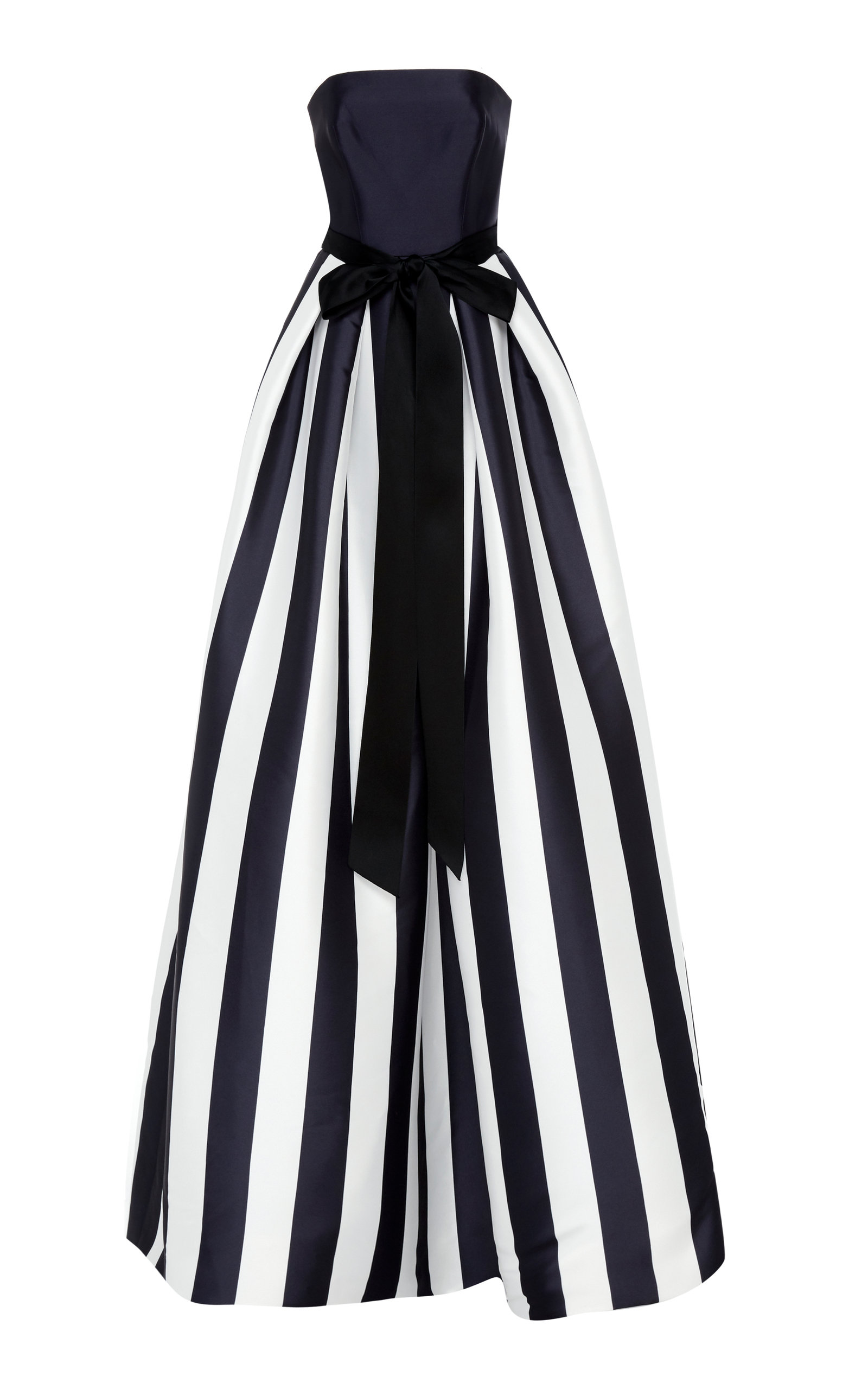 MONIQUE LHUILLIER Striped Mikado Bow-Waist Strapless Ball Gown With Full Skirt in Black/White