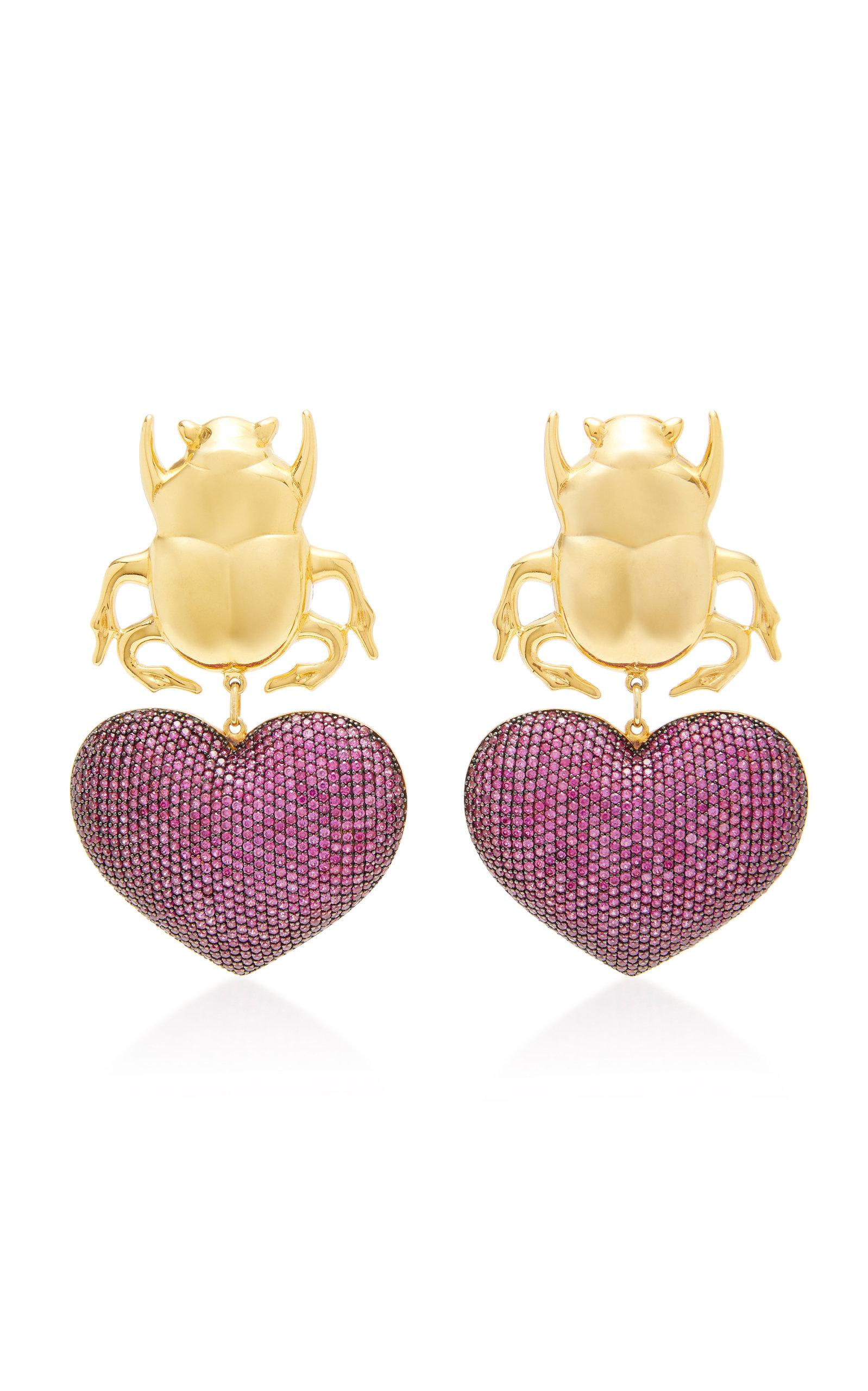 8eb852b1df20c Beetle My Love 24K Gold-Plated Crystal Earrings