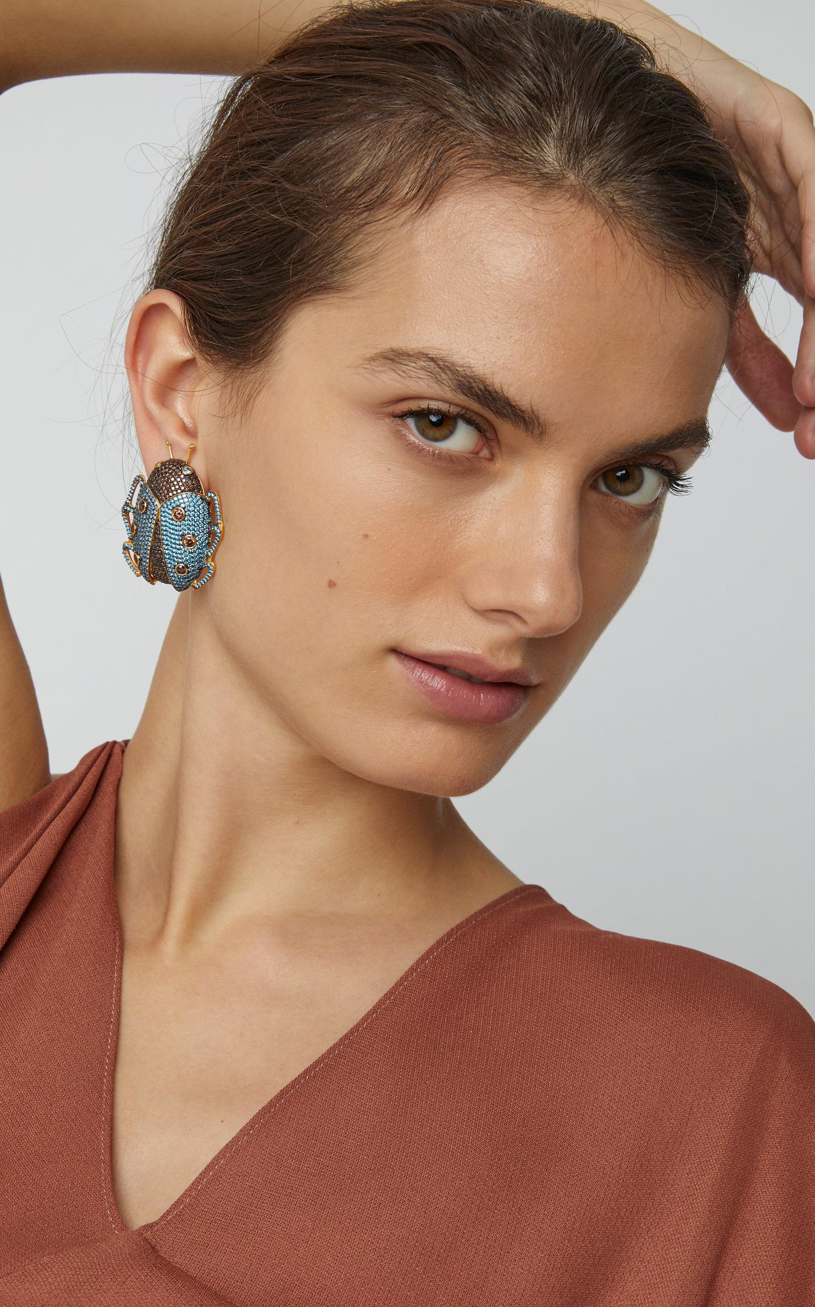 17e59375ae4e0 Lady Beetle 24K Gold-Plated Crystal Earrings