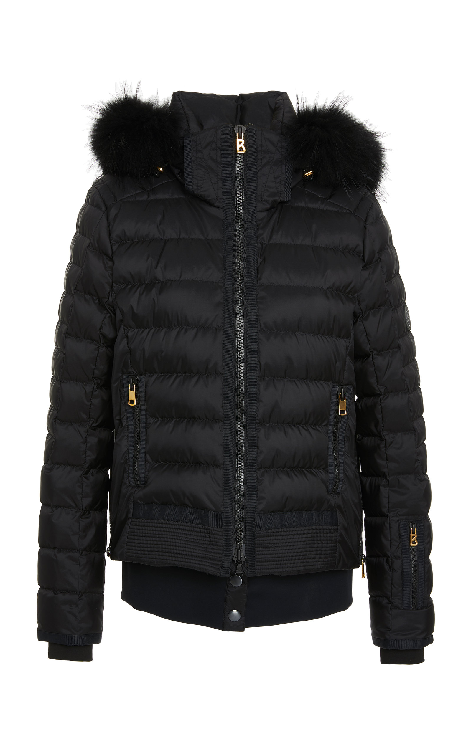 Muriel D Fur-Trimmed Shell Jacket in Black