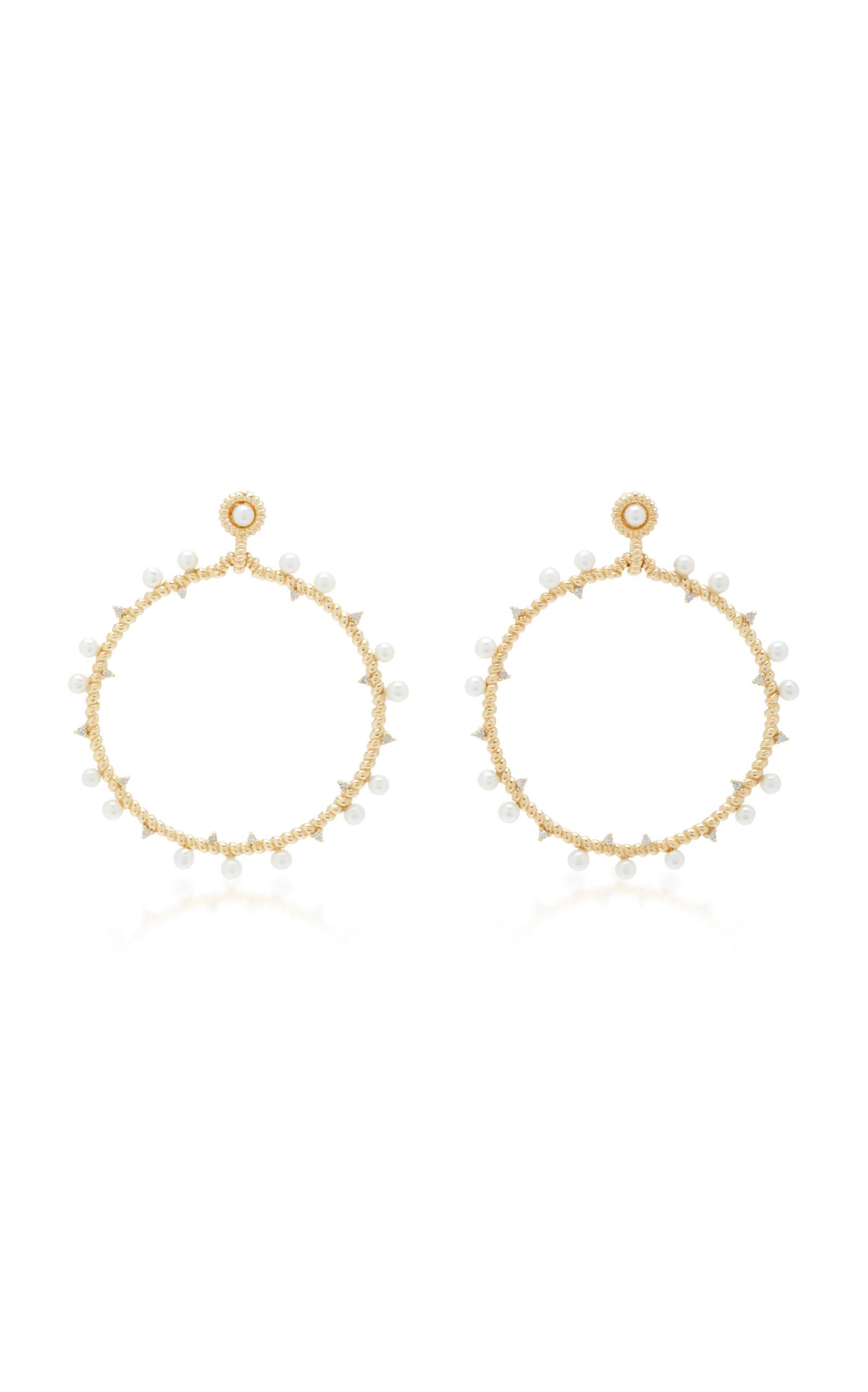 NANCY NEWBERG 14K Gold Pearl And Diamond Earrings