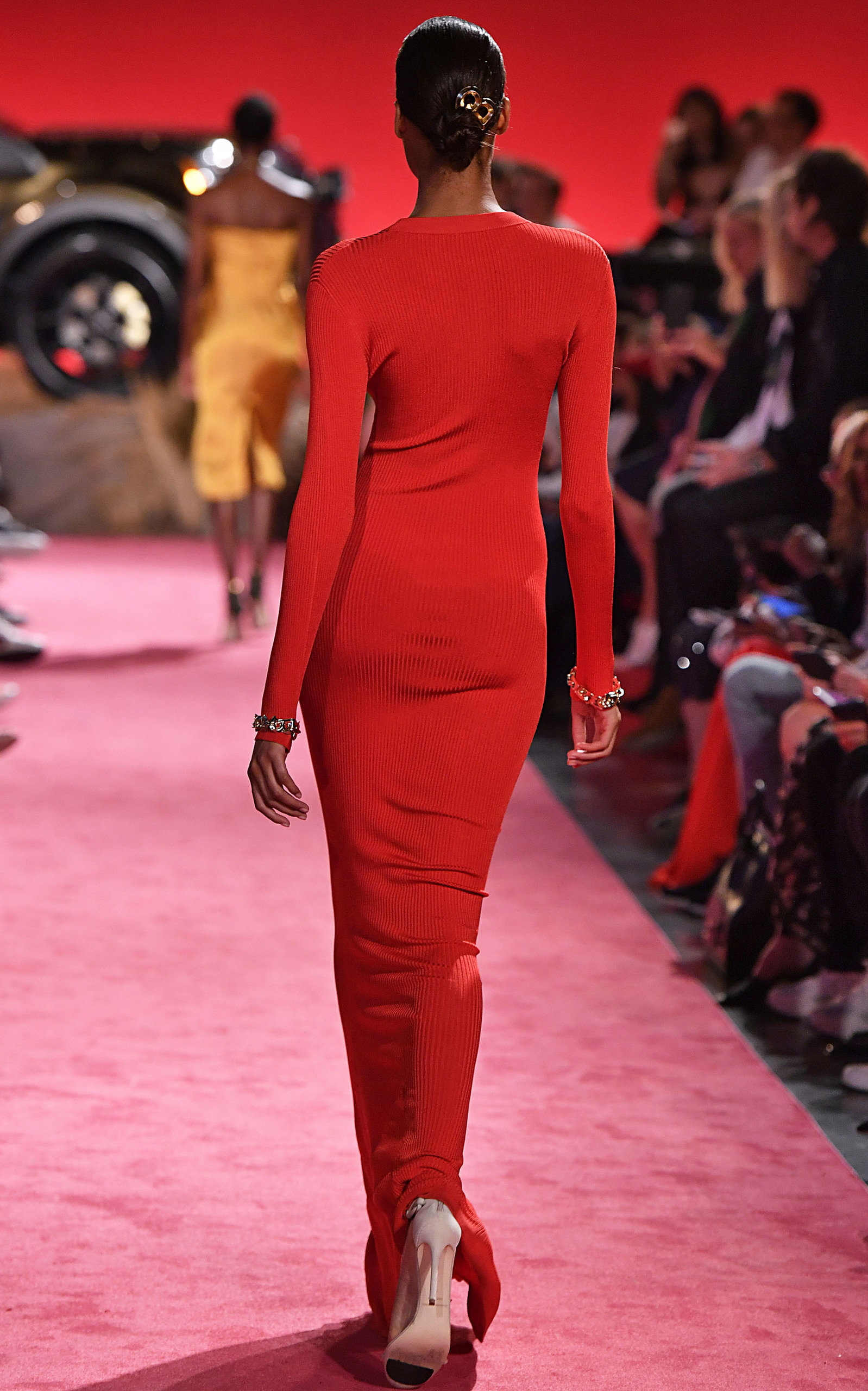 38ea24d01fff2 Brandon Maxwell Long-Sleeve Gown With Waterfall Train In Red   ModeSens