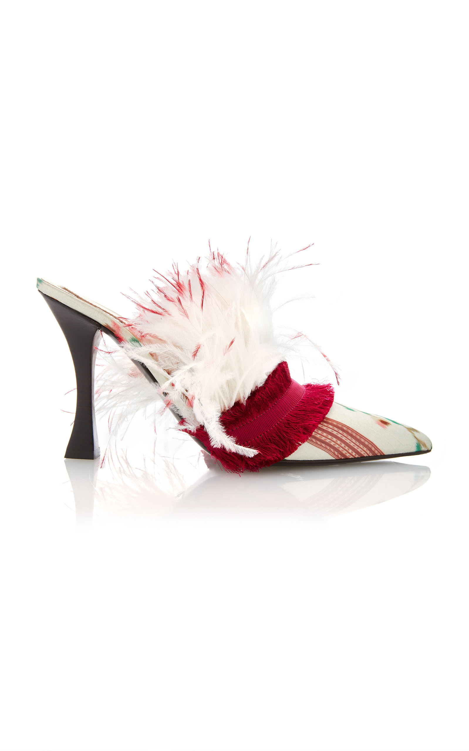 393387d942c Tabitha Simmons for Brock CollectionFeather-Embellished Printed Satin  Mules. CLOSE. Loading