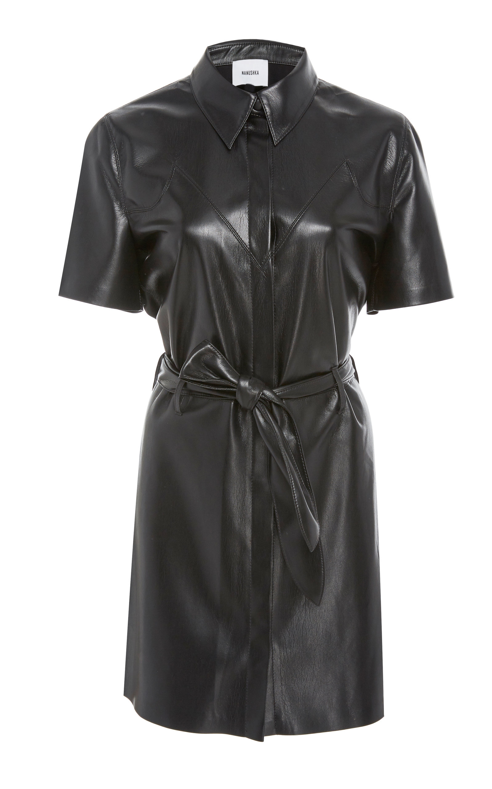 7c22bb6863 Roberta Belted Faux-Leather Mini Dress by Nanushka   Moda Operandi