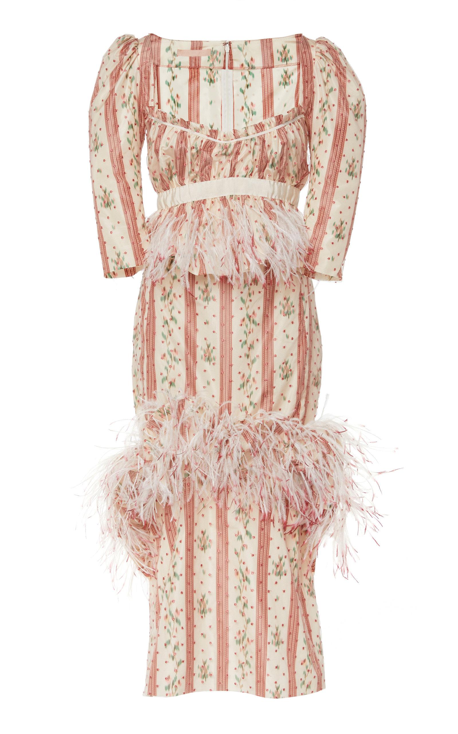 BROCK COLLECTION | Brock Collection Okiku Feather Detail Taffeta Dress | Goxip