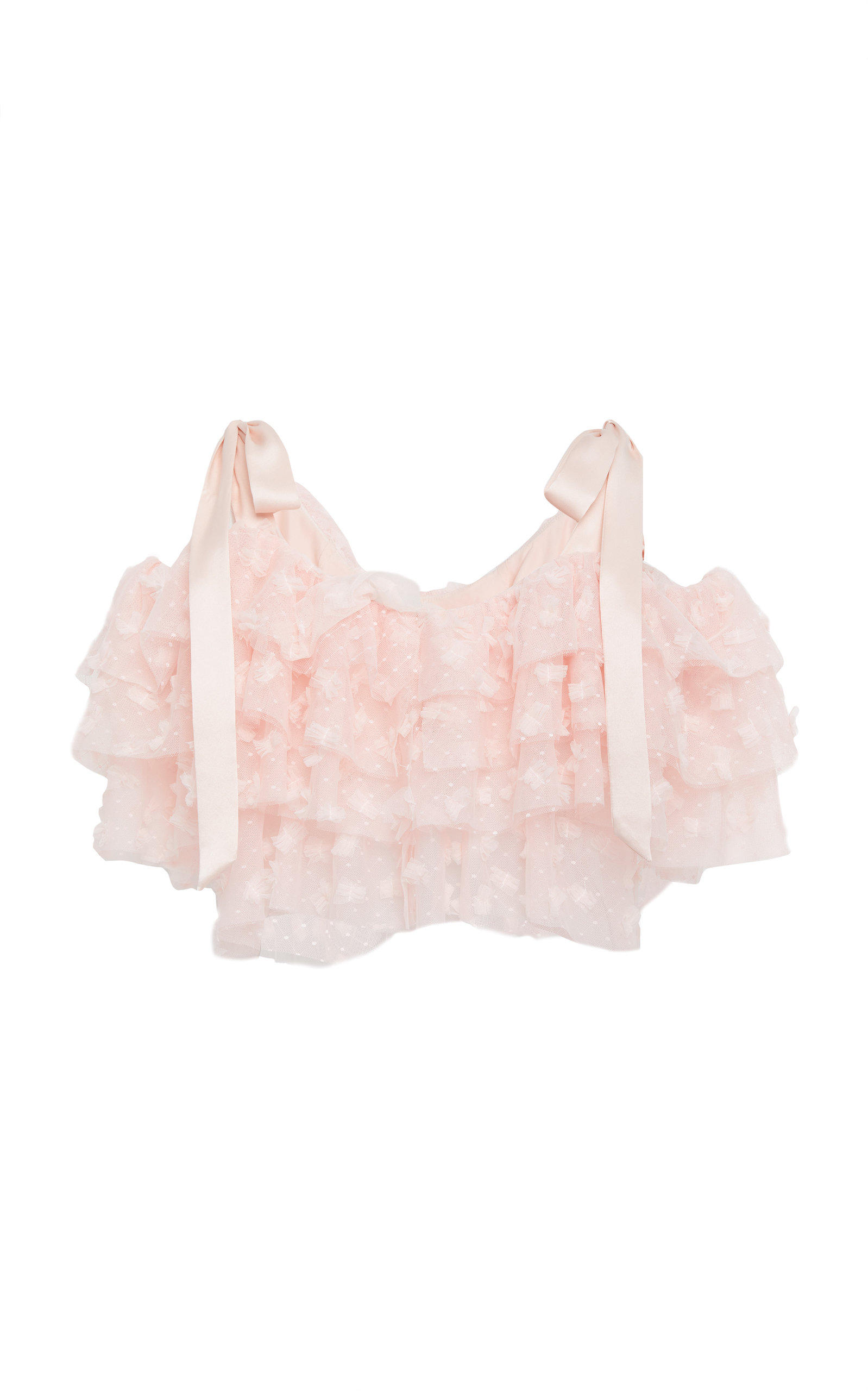 Rodarte TIERED EMBROIDERED TULLE TOP