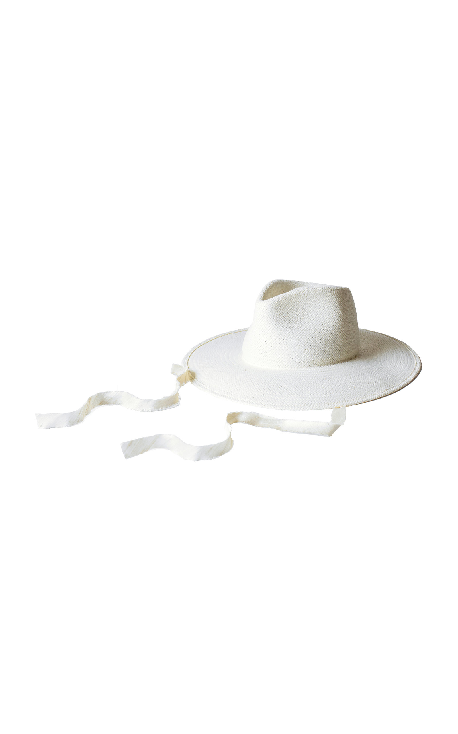 d5864ca4698 Janessa Leone Cezanne Silk-Trimmed Straw Hat In White