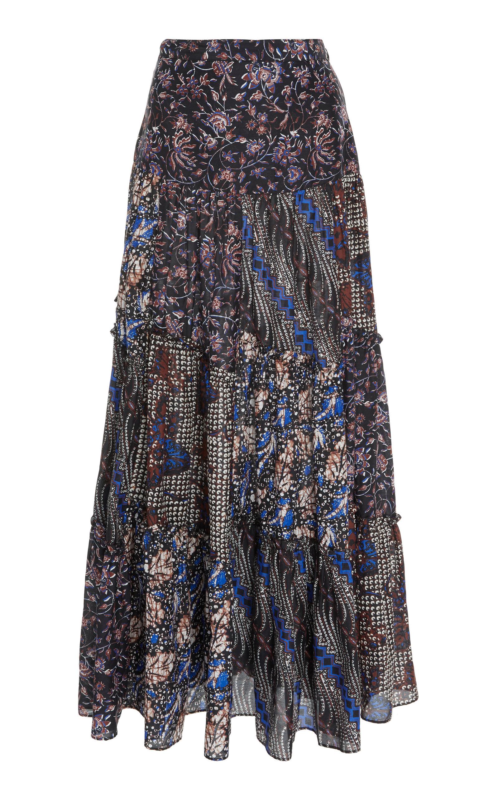ULLA JOHNSON Aslila Tiered Cotton-Silk Maxi Skirt