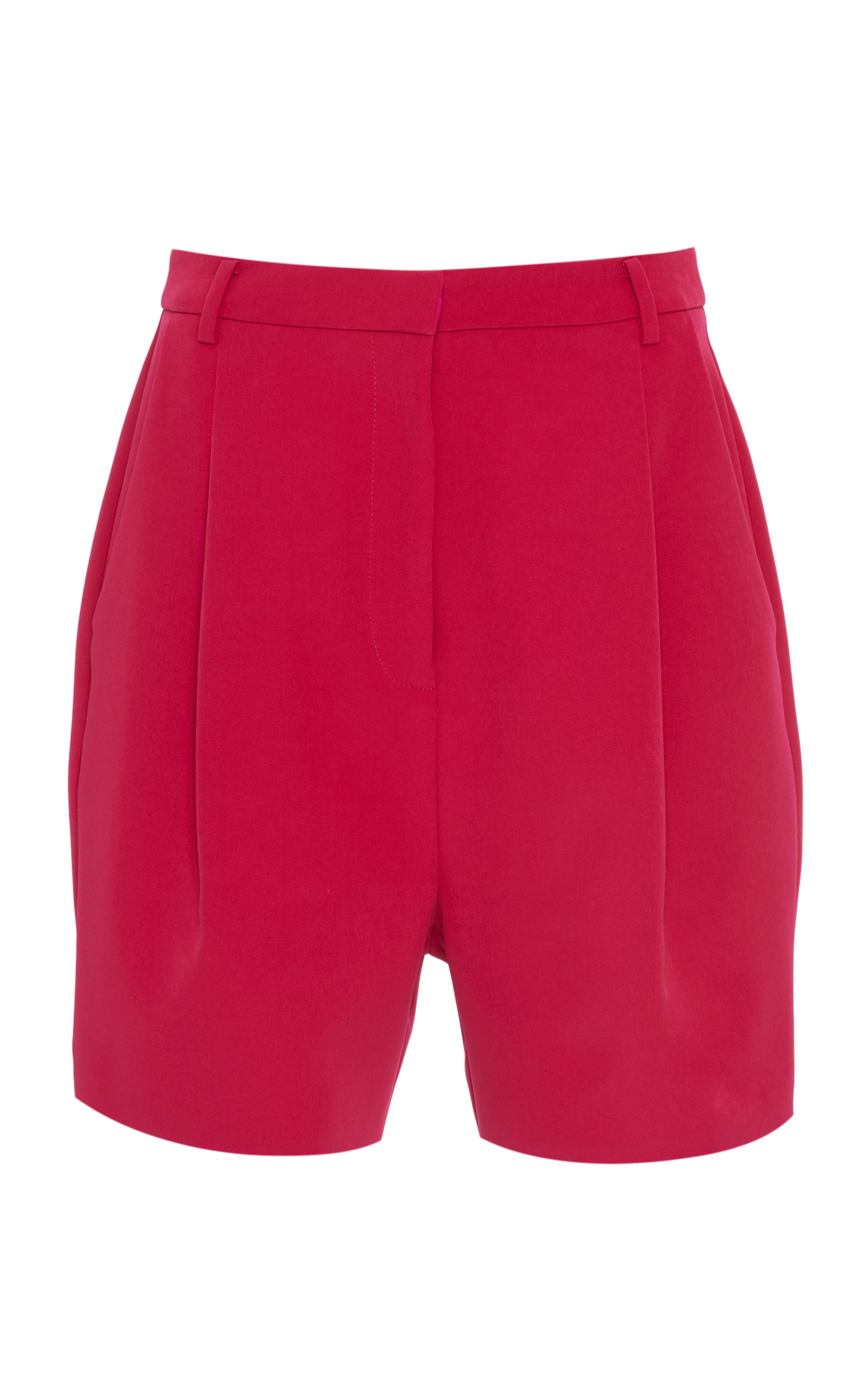 SALLY LAPOINTE | Sally LaPointe Pleated Stretch-Crepe Shorts | Goxip