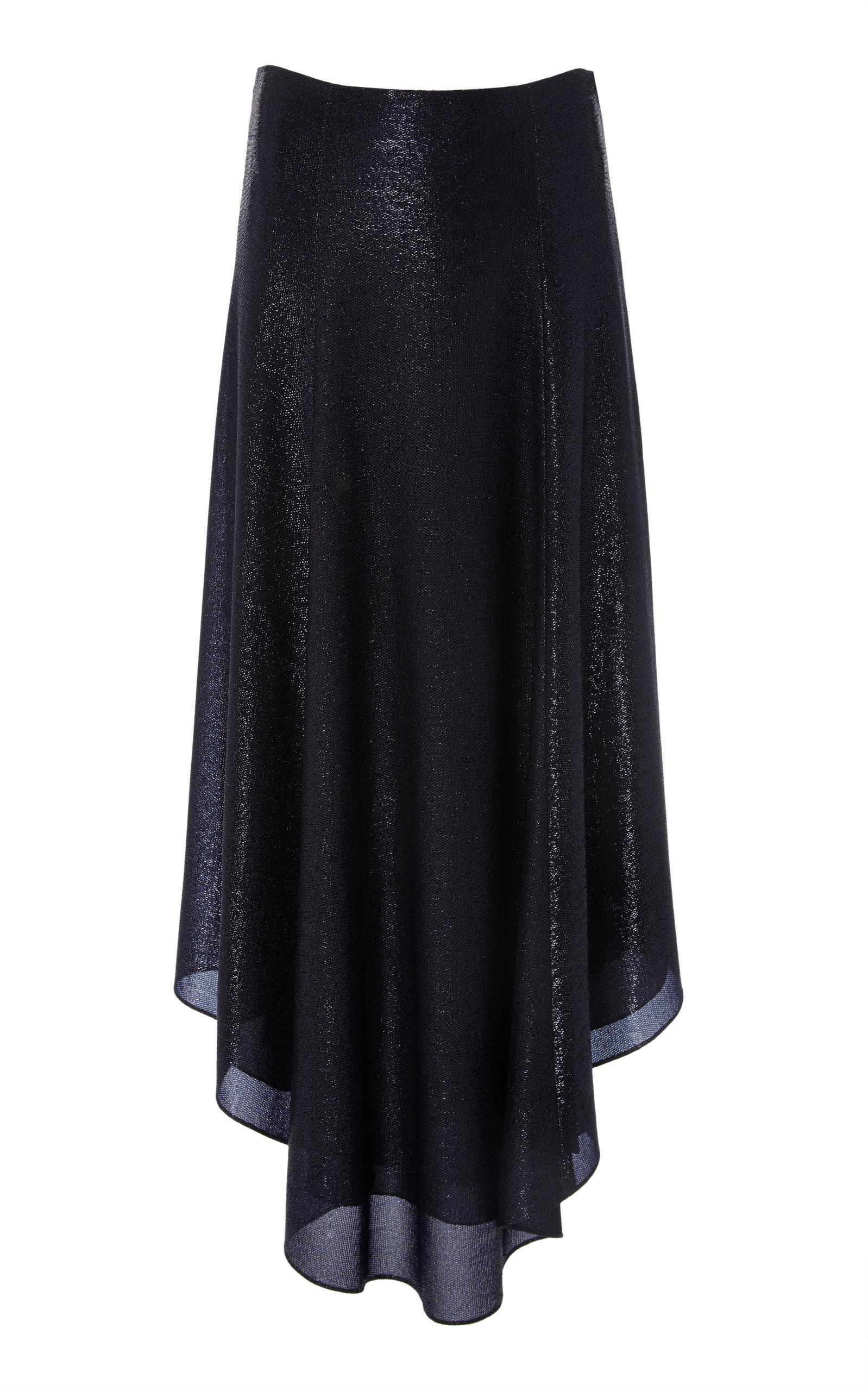 83a58ffbcc28 Asymmetric Metallic Mesh Knit Circle Skirt by Sally LaPointe | Moda ...
