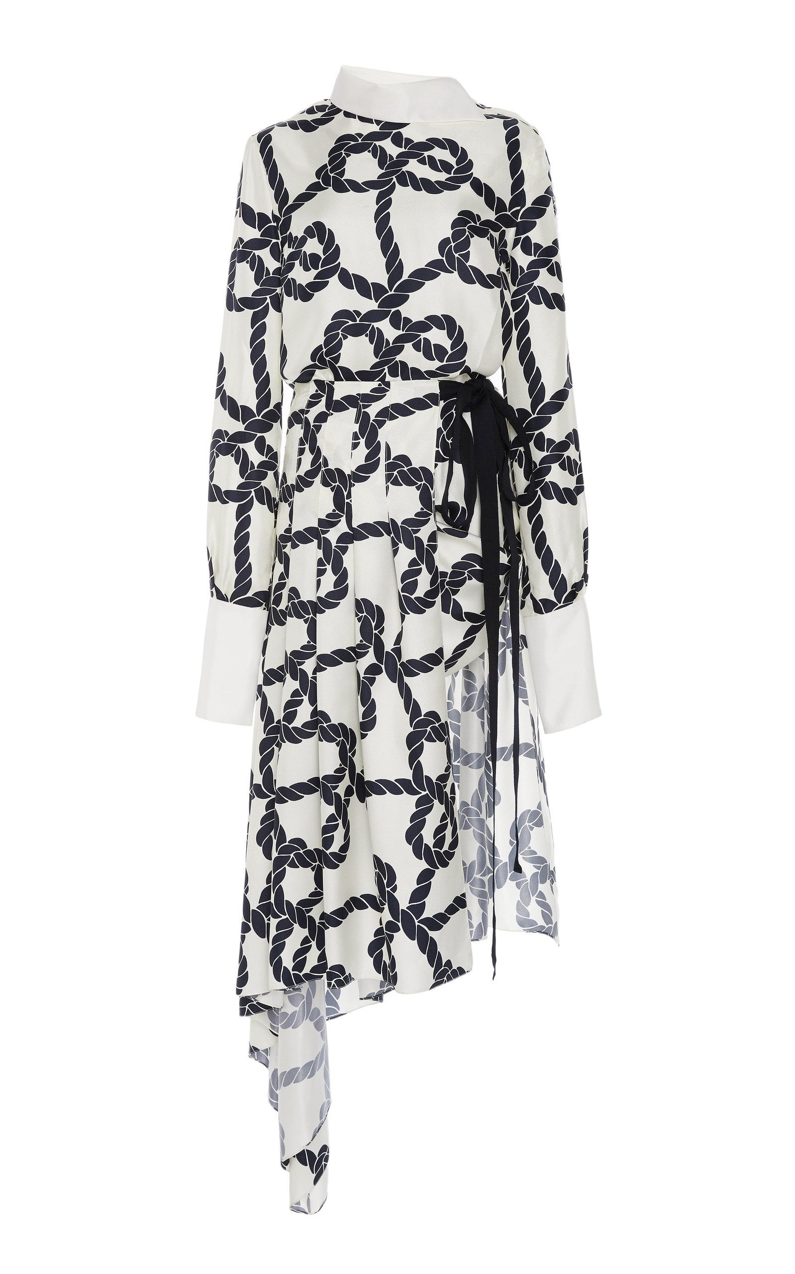 22cb62be490 MONSEAsymmetric Printed Silk-Satin Dress. CLOSE. Loading