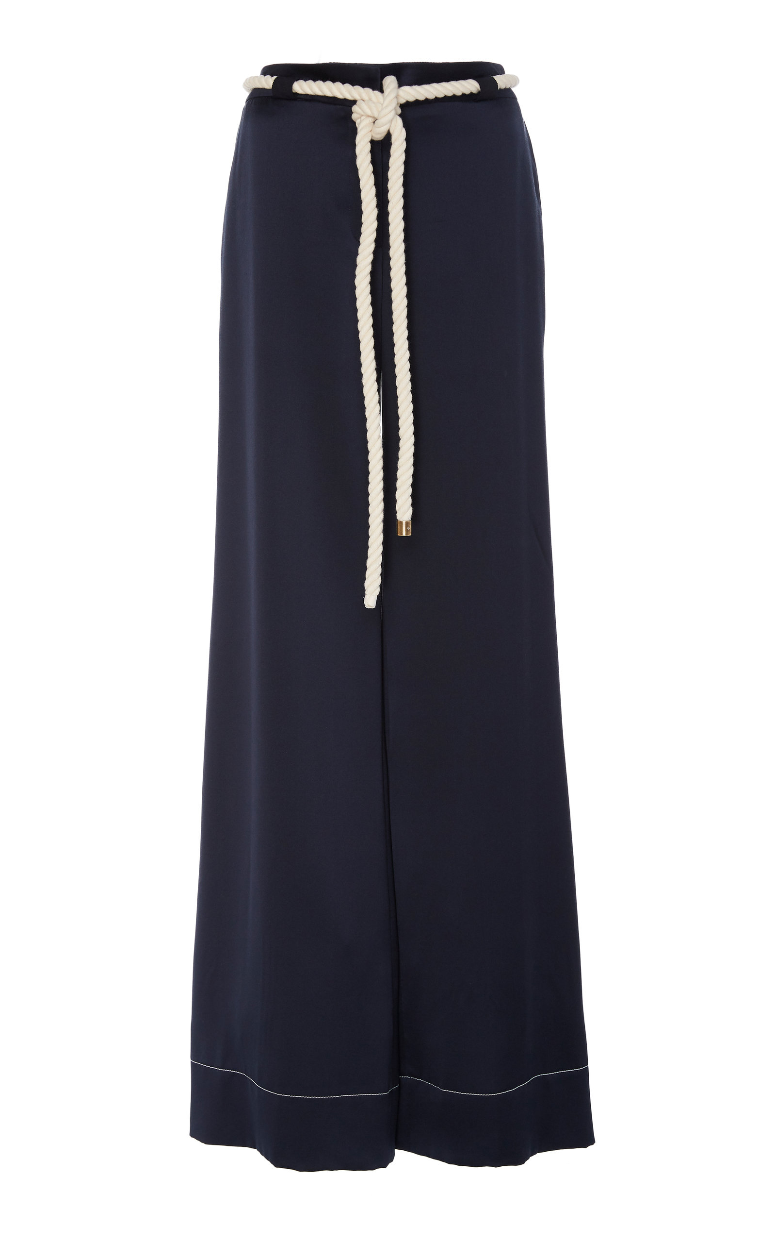 Monse ROPE-TRIMMED SATIN WIDE-LEG PANTS