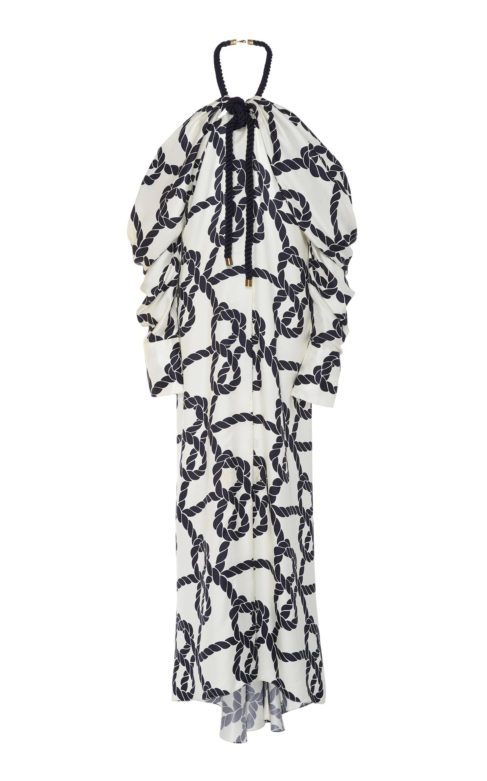 Monse COLD-SHOULDER PRINTED SILK-SATIN DRESS