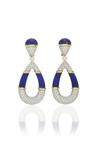 DAVID WEBB | David Webb Couture Carved Lapis Earrings | Goxip