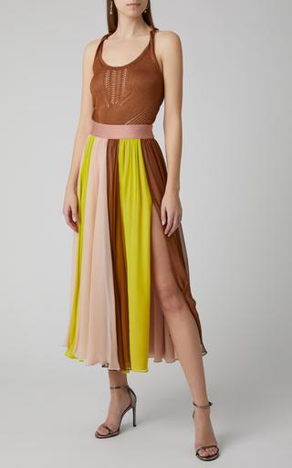 0b780cca423c2e CushnieColor-Blocked Silk-Chiffon Midi Skirt